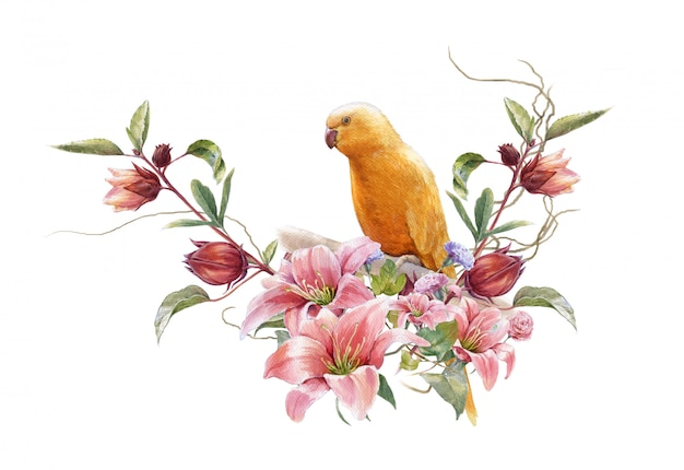Watercolor painting with bird and flowers on white