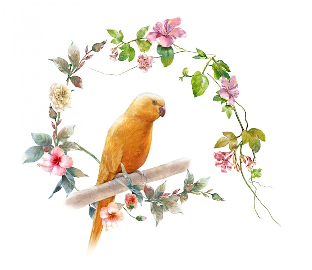 Watercolor painting with bird and flowers,