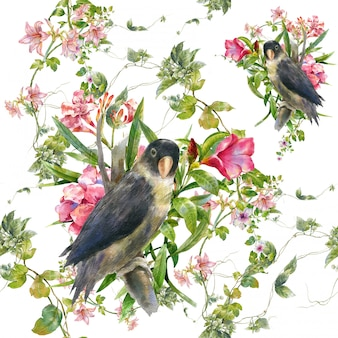 Watercolor painting with birds and flowers, seamless pattern on white