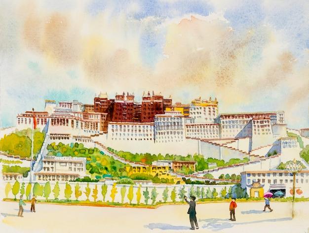 チベットのラサにあるランドマークのポタラ宮の水彩画