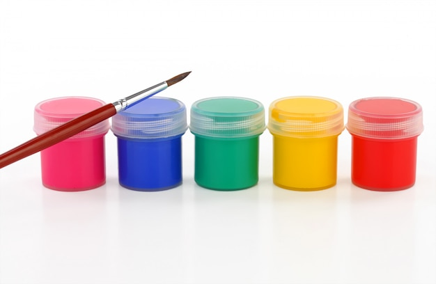 Watercolor paints and brushes for drawing