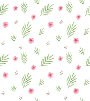 Watercolor palm branch, pink flowers seamless background