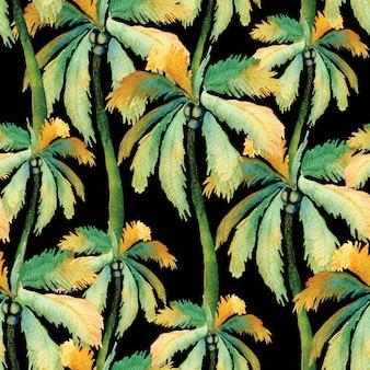 Акварельные пальмы с кокосами