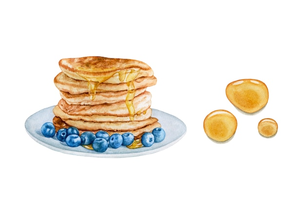 Watercolor pancakes, honey drops isolated.