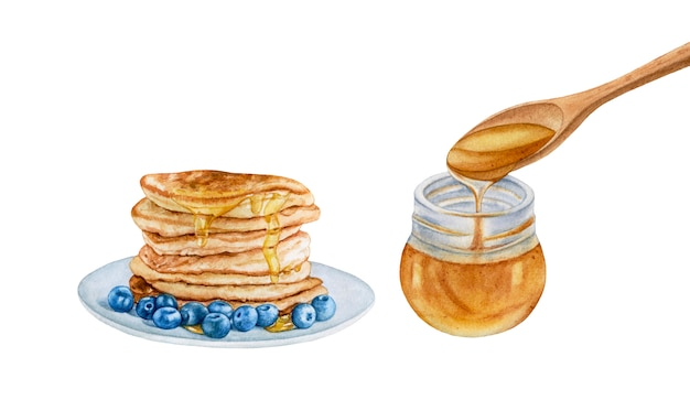 Watercolor pancakes with blueberry, honey jar isolated.