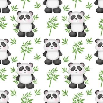 Watercolor panda with bamboo seamless pattern