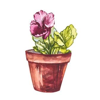 꽃 냄비에 수채화 팬 꽃입니다. 손은 흰색 바탕에 수채화 그림을 그립니다. 부활절 컬렉션.