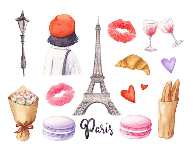 Watercolor paris set hand drawn eiffel tower girl croissant and macarons on a white