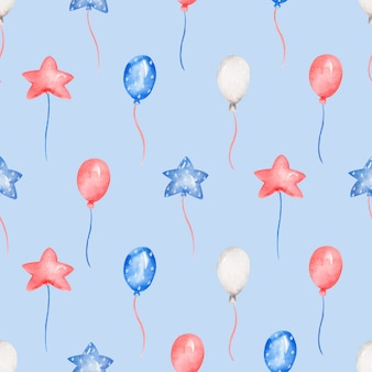 Watercolor party balloons, 4th of july seamless pattern
