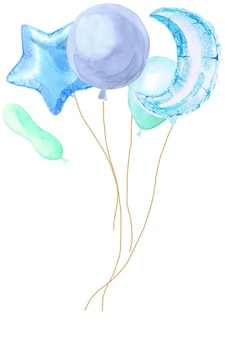 Watercolor party card with bright balloons