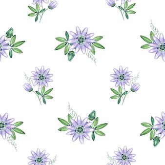 Watercolor passiflora seamless pattern