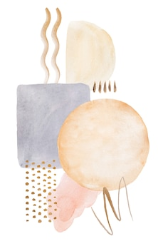 Watercolor pastel beige painted abstract elements