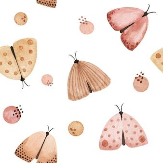 水彩パステル蝶、蛾のシームレスなパターン。美しい優しい手描きの背景