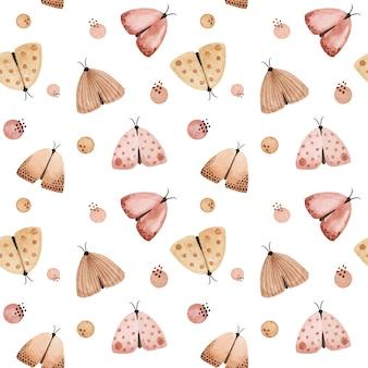 水彩パステル蝶、蛾のシームレスなパターン。優しい手描きのファブリックプリント
