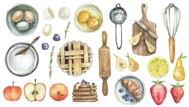 Watercolor pastry tools and food isolated on white background