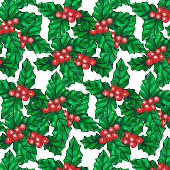 Watercolor pattern background with ash-berry watercolor rowan