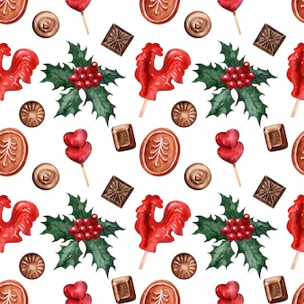 Watercolor pattern christmas holiday sweets