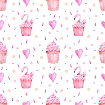 Watercolor pattern of cupcakes and hearts