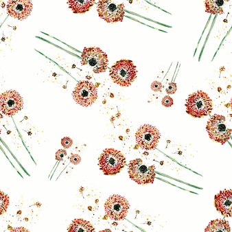 Watercolor pattern of dandelion on white background