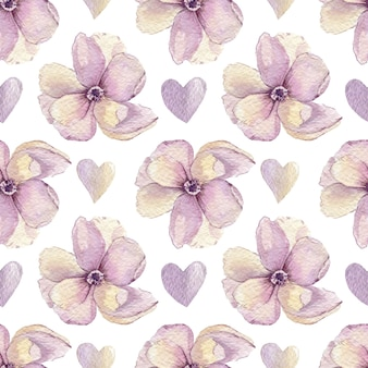Watercolor pattern of flowers and hearts