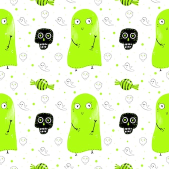 Watercolor pattern of green ghosts, sweets and skulls