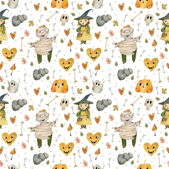 Watercolor pattern of halloween characters and objects
