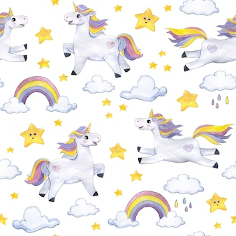 Watercolor pattern on a light background with unicorns, clouds, stars, rainbows
