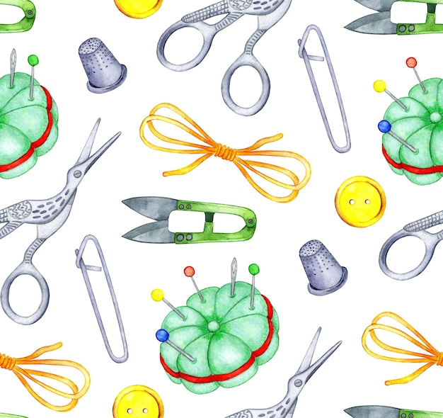 Watercolor pattern needlework tools seamless pattern scissors thread safety pin thimble