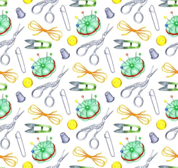수채화 패턴 바느질 도구 원활한 패턴 가위 실 안전 핀 골무