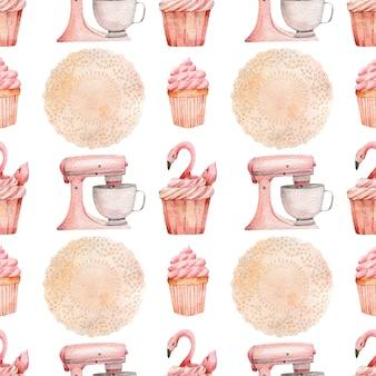 ベーカリーツールとお菓子の水彩パターン