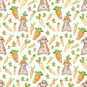 漫画風のオレンジ色のニンジンとウサギの水彩画のパターン。