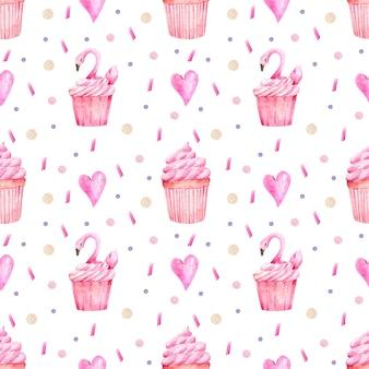 カップケーキとハートの水彩パターン