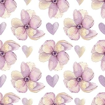 花とハートの水彩パターン