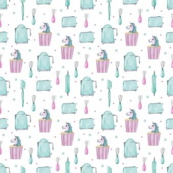 주방 도구의 수채화 패턴