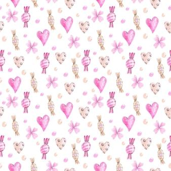 お菓子とハートの水彩パターン