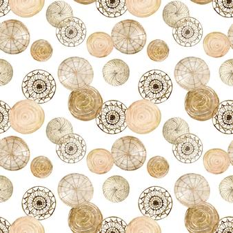 編まれたディスク壁アートの水彩パターン。自然な円形ディスクの家の装飾。