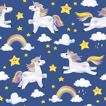 Акварельный узор на синем фоне с единорогами, облаками, звездами, радугами
