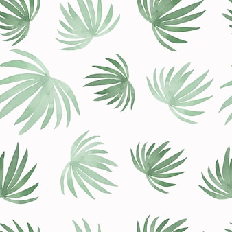 Watercolor pattern of painting coconut palm leaf