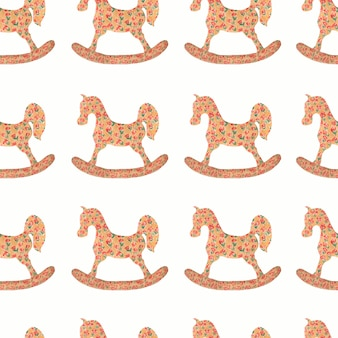 Watercolor pattern of rocking horse