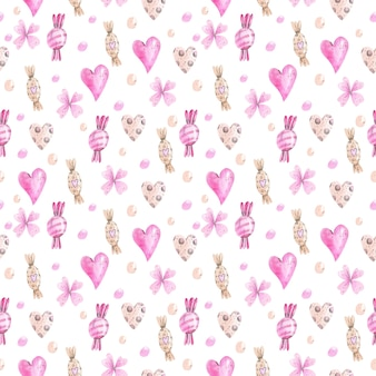 Watercolor pattern of sweets and hearts