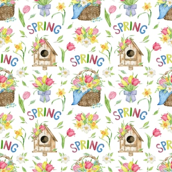 Watercolor pattern of tulip and daffodil basket, bird house, spring word.