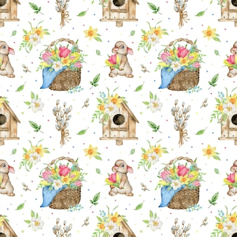 Watercolor pattern of tulips and daffodils basket, bird house, rabbit and pussy willow