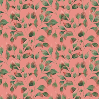 Watercolor pattern with autumn leaf branches green leaves with red tips on a pink background