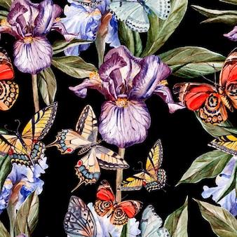 美しい蝶と花のアイリスと水彩画のパターン。図