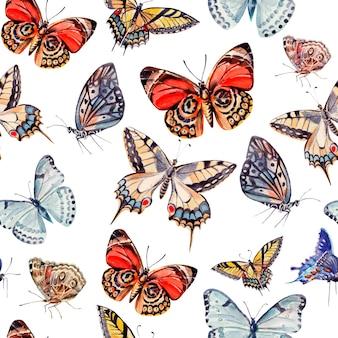 Акварельный образец с красивыми бабочками. иллюстрация