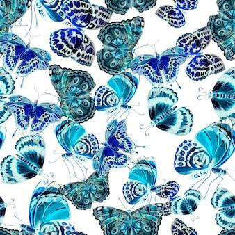 美しい蝶と水彩のパターン。図