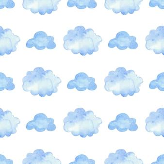 青い雲と水彩パターン。シームレスな要素