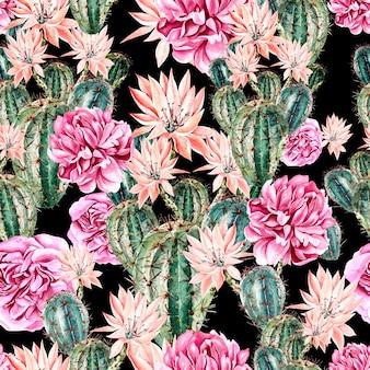 Акварельный образец с кактусом и пионом. иллюстрация