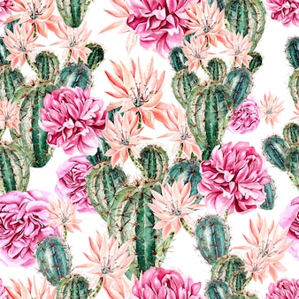 Watercolor pattern with cactus and peony . illustration