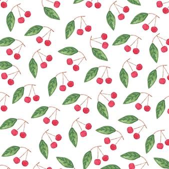 さくらんぼと葉の水彩画パターン。白い背景で隔離の紙や布のデザインのイラスト。